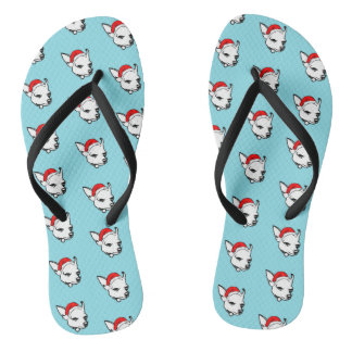 Chihuahua Dog with Christmas Santa Hat Pattern Flip Flops