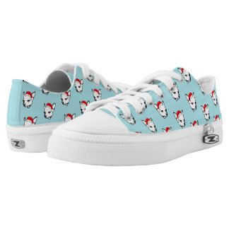 Chihuahua Dog with Christmas Santa Hat Pattern Low-Top Sneakers