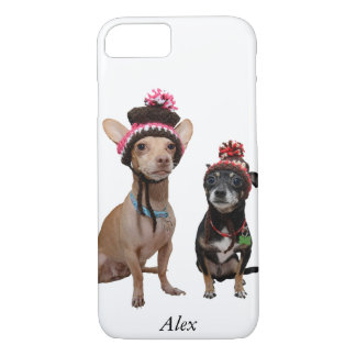chihuahua dogs in winter hats with pom-poms iPhone 8/7 case