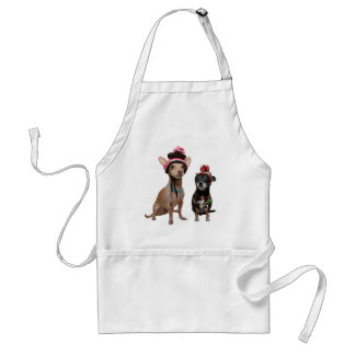 chihuahua dogs in winter hats with pom-poms standard apron