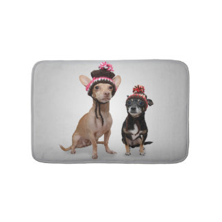 Chihuahua Dogs With Hats Photo Bathroom Mat