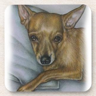 chihuahua drawing of dog animal art coaster