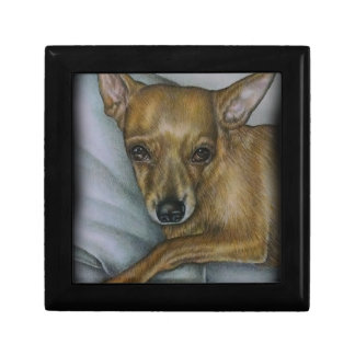 chihuahua drawing of dog animal art keepsake box