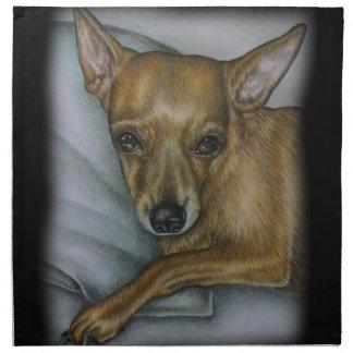 chihuahua drawing of dog animal art napkin