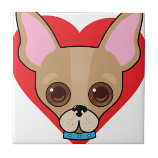 Chihuahua Face Ceramic Tiles
