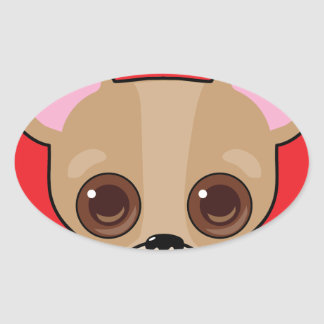 Chihuahua Face Oval Sticker
