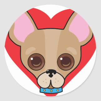 Chihuahua Face Round Sticker