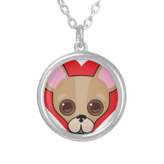 Chihuahua Face Silver Plated Necklace