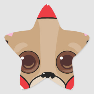 Chihuahua Face Star Sticker