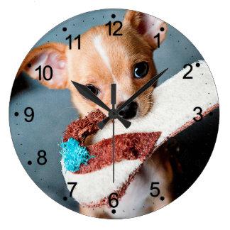 chihuahua flip flops large clock