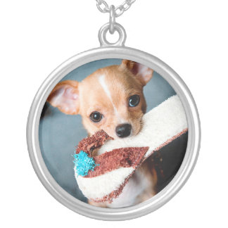 chihuahua flip flops silver plated necklace
