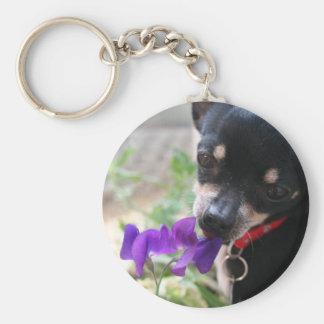 Chihuahua & Flower Keychain
