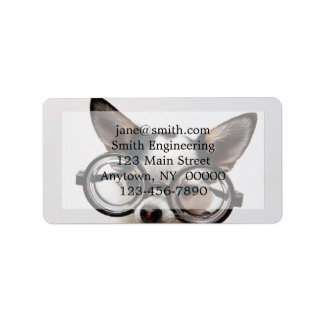 Chihuahua glasses - dog eyeglasses label