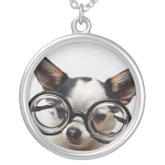 Chihuahua glasses - dog eyeglasses silver plated necklace