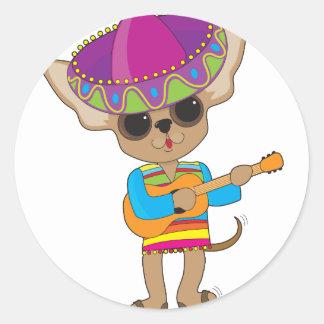 Chihuahua Guitar Round Sticker