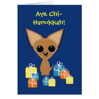 Chihuahua Hanukkah Presents Margarita Humor Greeting Card