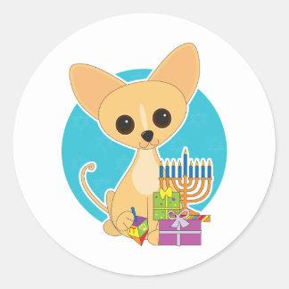 Chihuahua Hanukkah Round Sticker