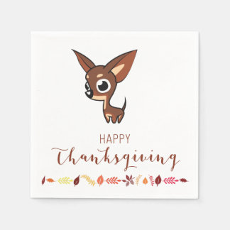 Chihuahua Happy Thanksgiving Paper Napkins