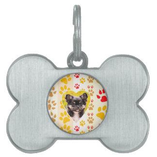 Chihuahua Heart Paw Prints Pet Tag