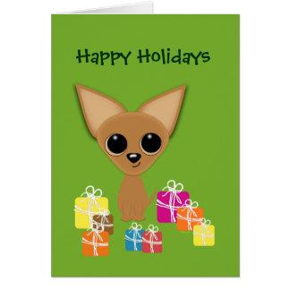 Chihuahua Holiday Presents Margarita Humor Greeting Card