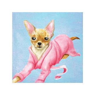 Chihuahua in a Bathrobe Dog Canvas Print