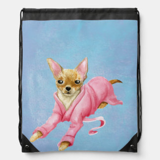 Chihuahua in a Bathrobe Dog Drawstring Backpack