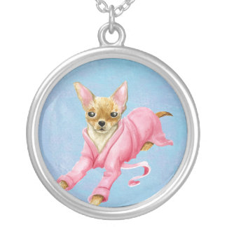 Chihuahua in a Bathrobe Dog Large Round Necklace