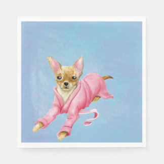 Chihuahua in a Bathrobe Dog Lunch Napkins Disposable Napkins