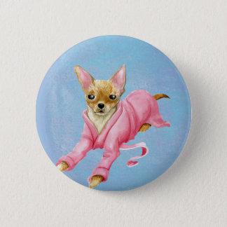 Chihuahua in a Bathrobe Dog Round Button