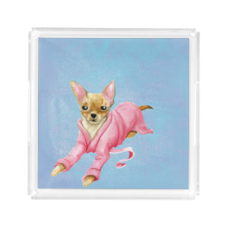 Chihuahua in a Bathrobe Dog Small Square Tray