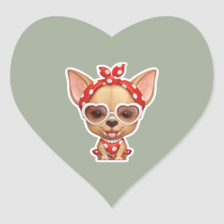 Chihuahua in the Guise of a Retro Beauty Heart Sticker