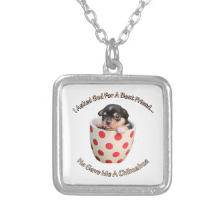 Chihuahua Is My Best Friend Silver Plated Necklace