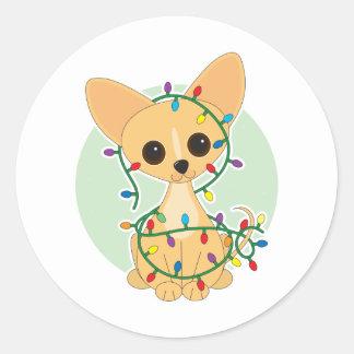 Chihuahua Lights Round Sticker