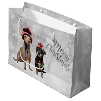 Chihuahua Merry Christmas Large Gift Bag