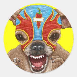 Chihuahua - Mexican wrestler Round Sticker