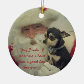 Chihuahua on Santa's Lap Round Ceramic Ornament