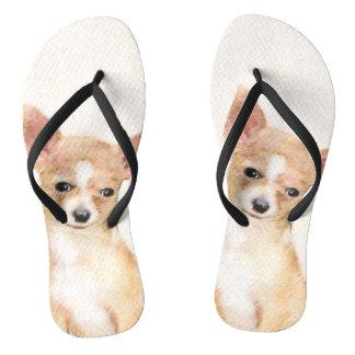 Chihuahua Painting - Cute Original Dog Art Flip Flops