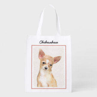 Chihuahua Painting - Cute Original Dog Art Reusable Grocery Bag