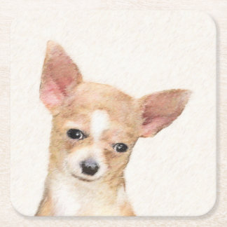 Chihuahua Painting - Cute Original Dog Art Square Paper Coaster