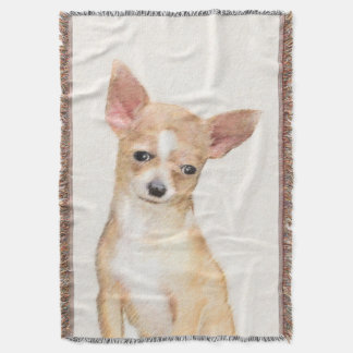 Chihuahua Painting - Cute Original Dog Art Throw Blanket