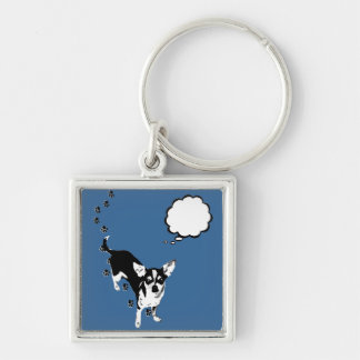 Chihuahua Paw Prints Silver-Colored Square Keychain