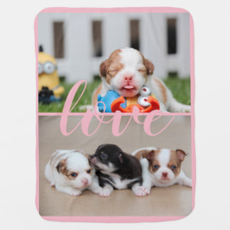 Chihuahua Pink Baby Blanket Add Photo