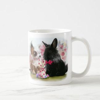 Chihuahua puppy and black rabbit coffee mug