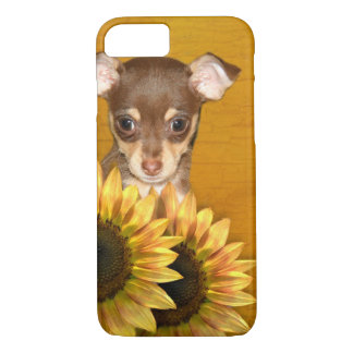 Chihuahua puppy and sunflowers iPhone 7 case