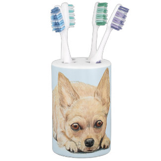 Chihuahua Puppy by Carol Zeock Soap Dispenser And Toothbrush Holder