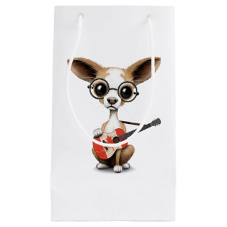 Chihuahua Puppy Dog Playing Canadian Flag Guitar Small Gift Bag