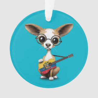 Chihuahua Puppy Dog Playing Ecuadorian Flag Guitar Ornament