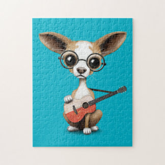 Chihuahua Puppy Dog Playing Polish Flag Guitar Jigsaw Puzzle