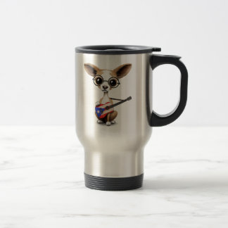 Chihuahua Puppy Dog Playing Puerto Rico Guitar Travel Mug