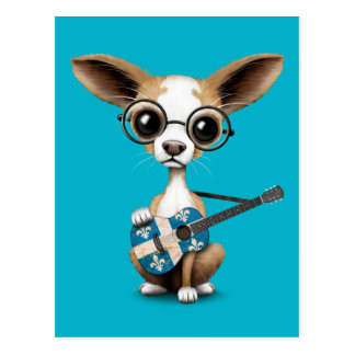 Chihuahua Puppy Dog Playing Quebec Flag Guitar Postcard